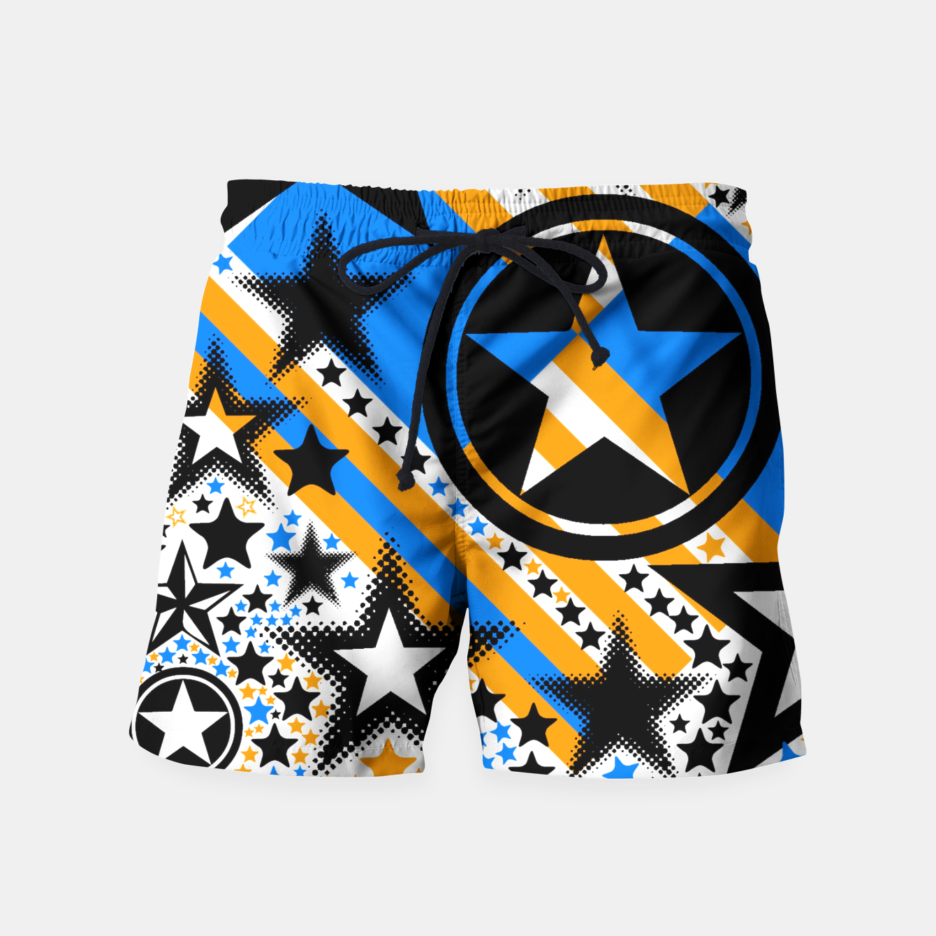 Image of BLACK GOLD AND BLUE-STARS 2 Swim Shorts - Live Heroes