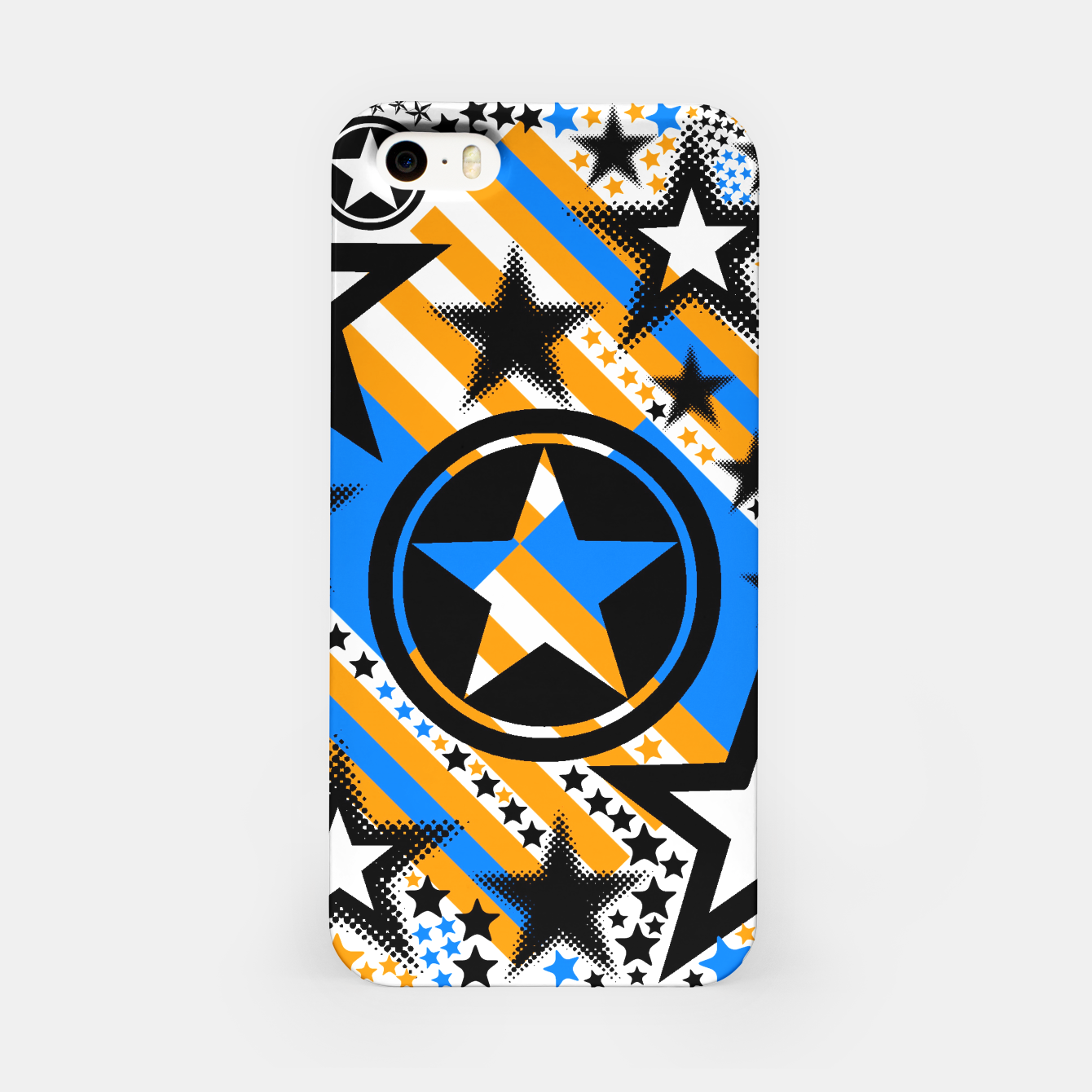 Image of BLACK GOLD AND BLUE-STARS 2 iPhone Case - Live Heroes