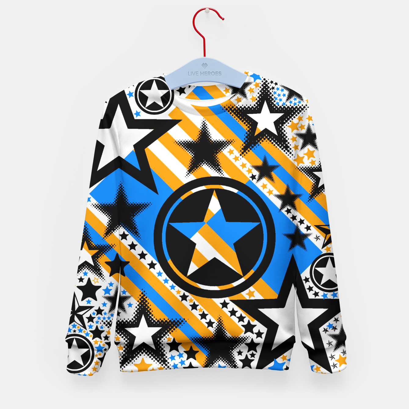 Image of BLACK GOLD AND BLUE-STARS 2 Kid's Sweater - Live Heroes