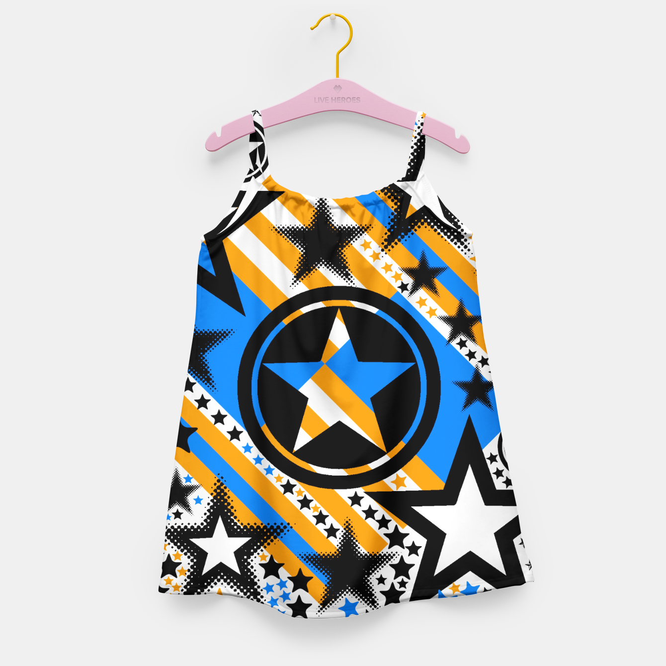 Image of BLACK GOLD AND BLUE-STARS 2 Girl's Dress - Live Heroes