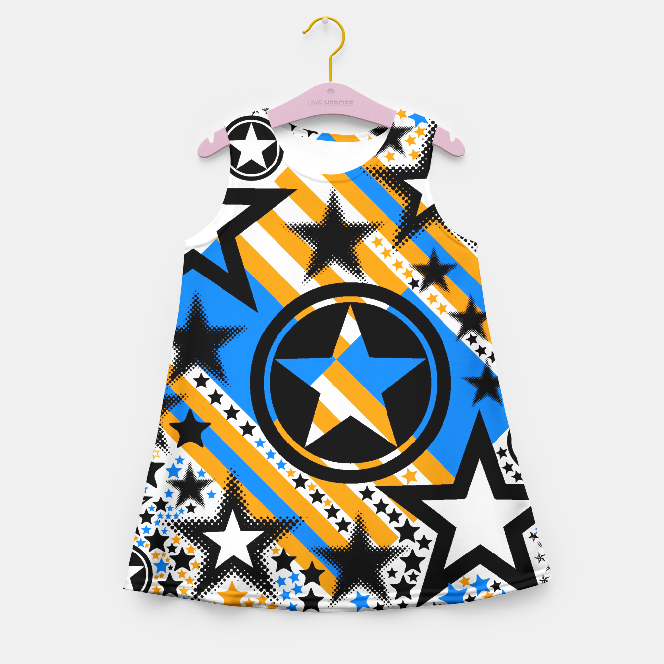 Image of BLACK GOLD AND BLUE-STARS 2 Girl's Summer Dress - Live Heroes