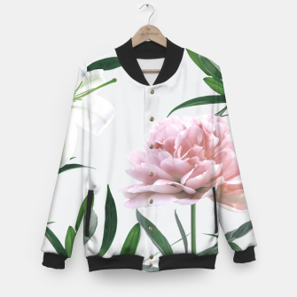 Thumbnail image of Pink Peony White Lily Baseball Jacket, Live Heroes