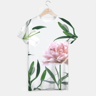 Thumbnail image of Pink Peony White Lily T-shirt, Live Heroes