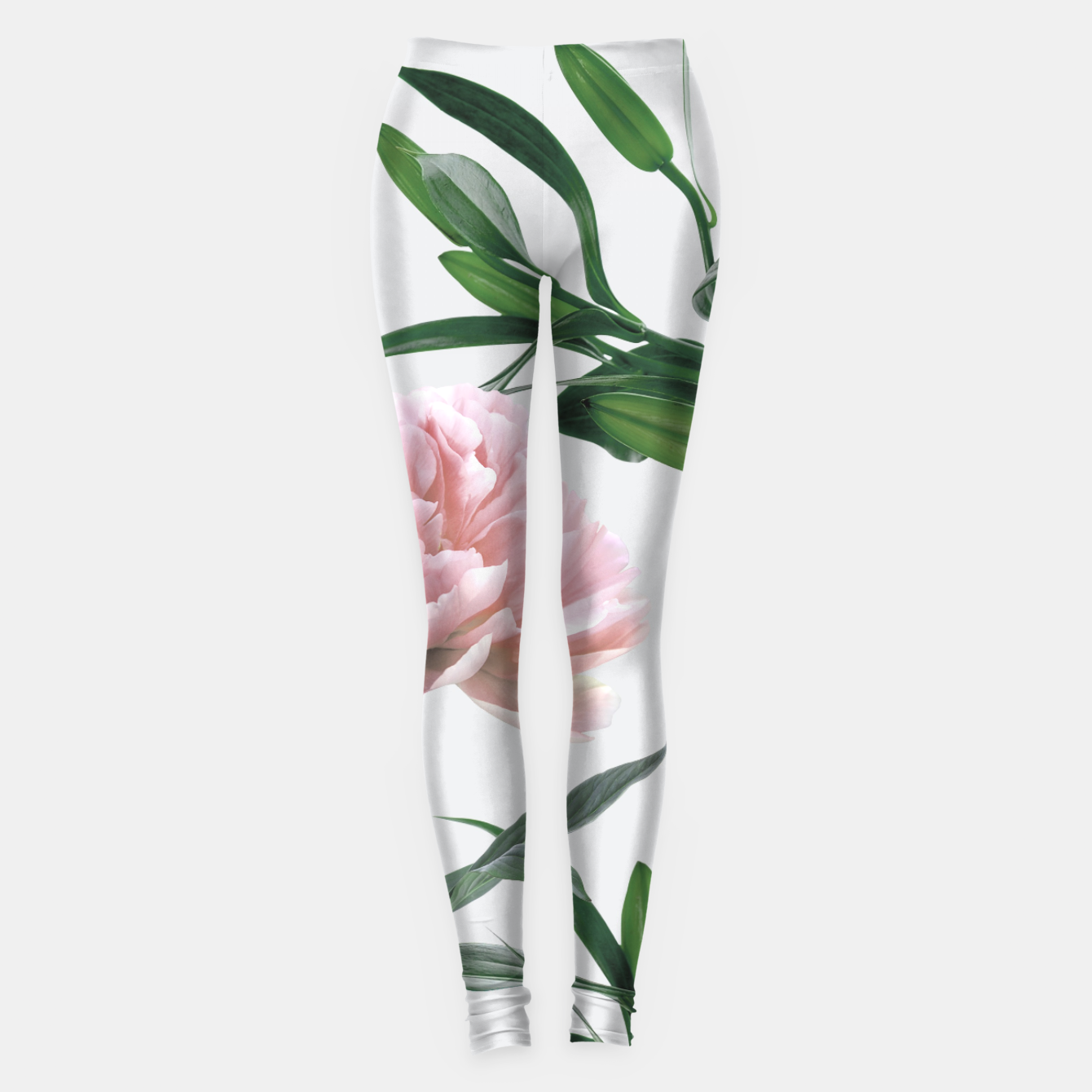 Image of Pink Peony White Lily Leggings - Live Heroes