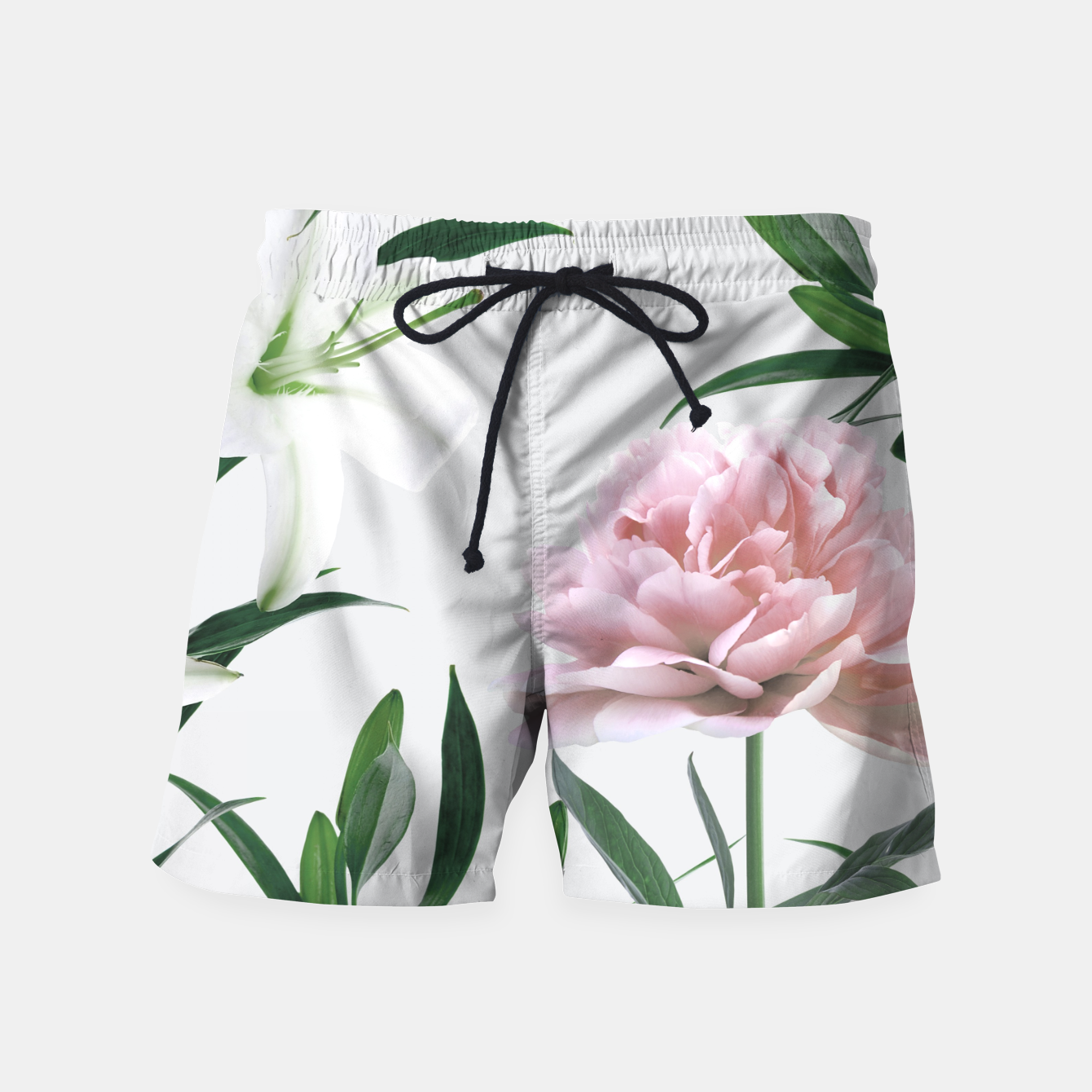 Image of Pink Peony White Lily Swim Shorts - Live Heroes