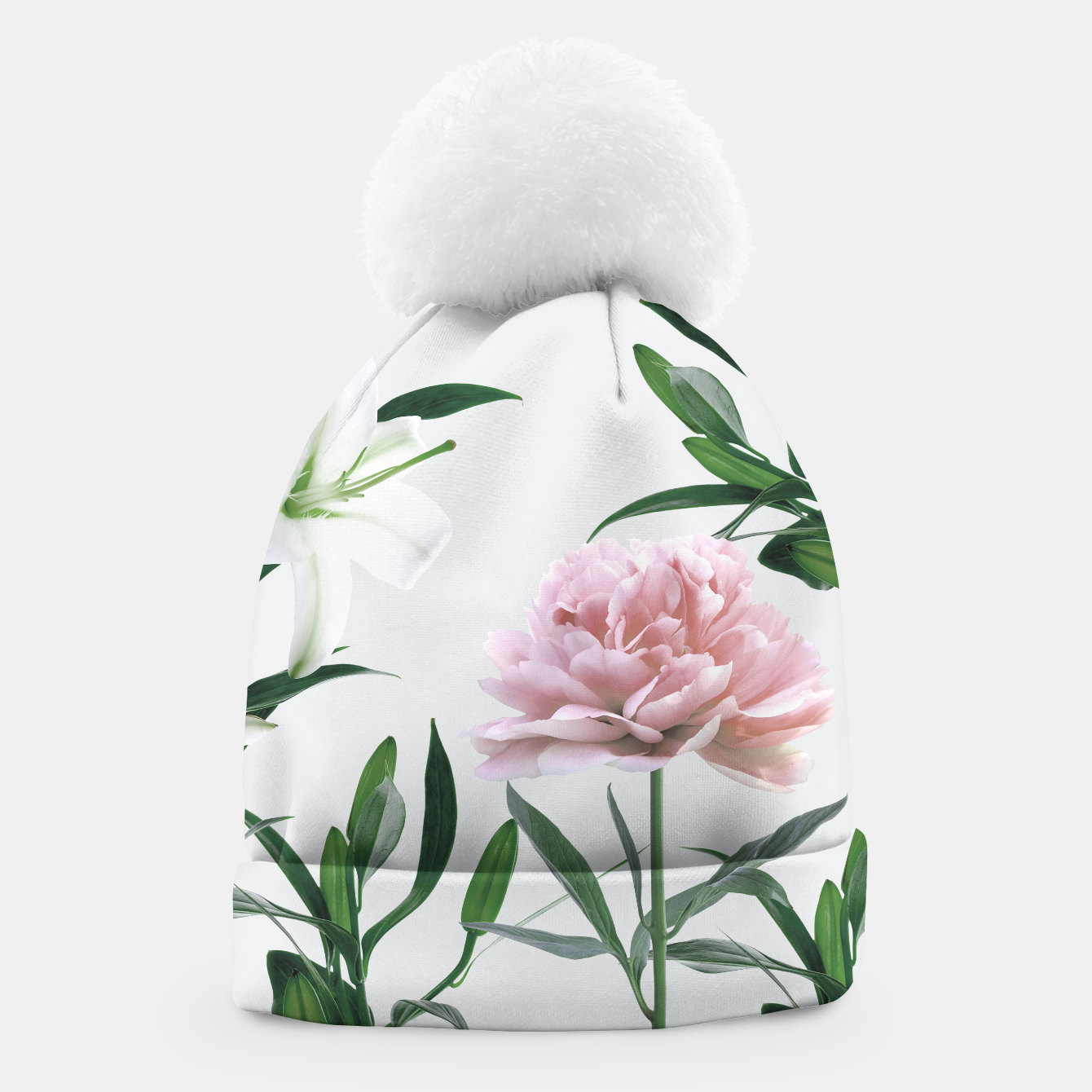 Image of Pink Peony White Lily Beanie - Live Heroes