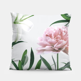 Thumbnail image of Pink Peony White Lily Pillow, Live Heroes