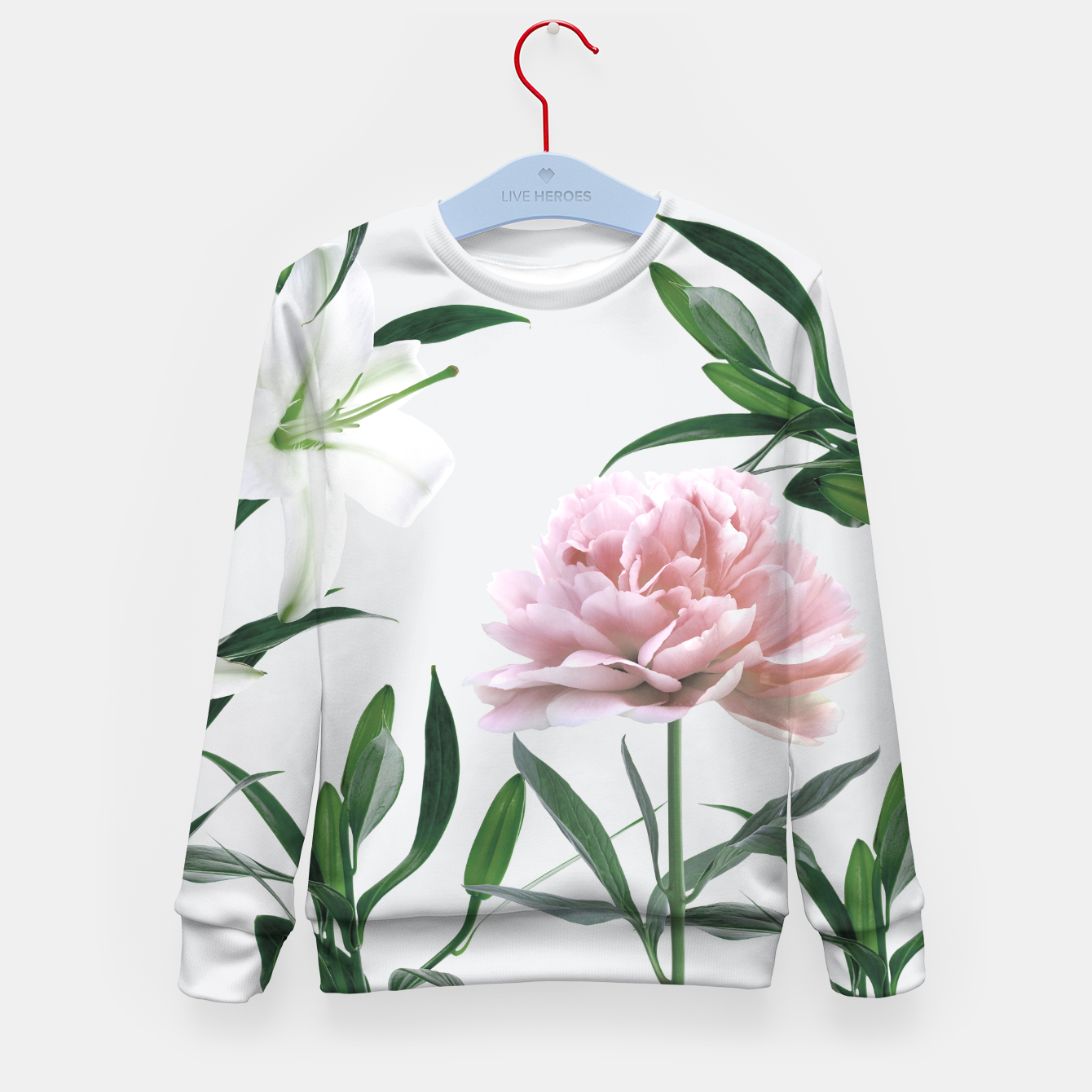 Image of Pink Peony White Lily Kid's Sweater - Live Heroes