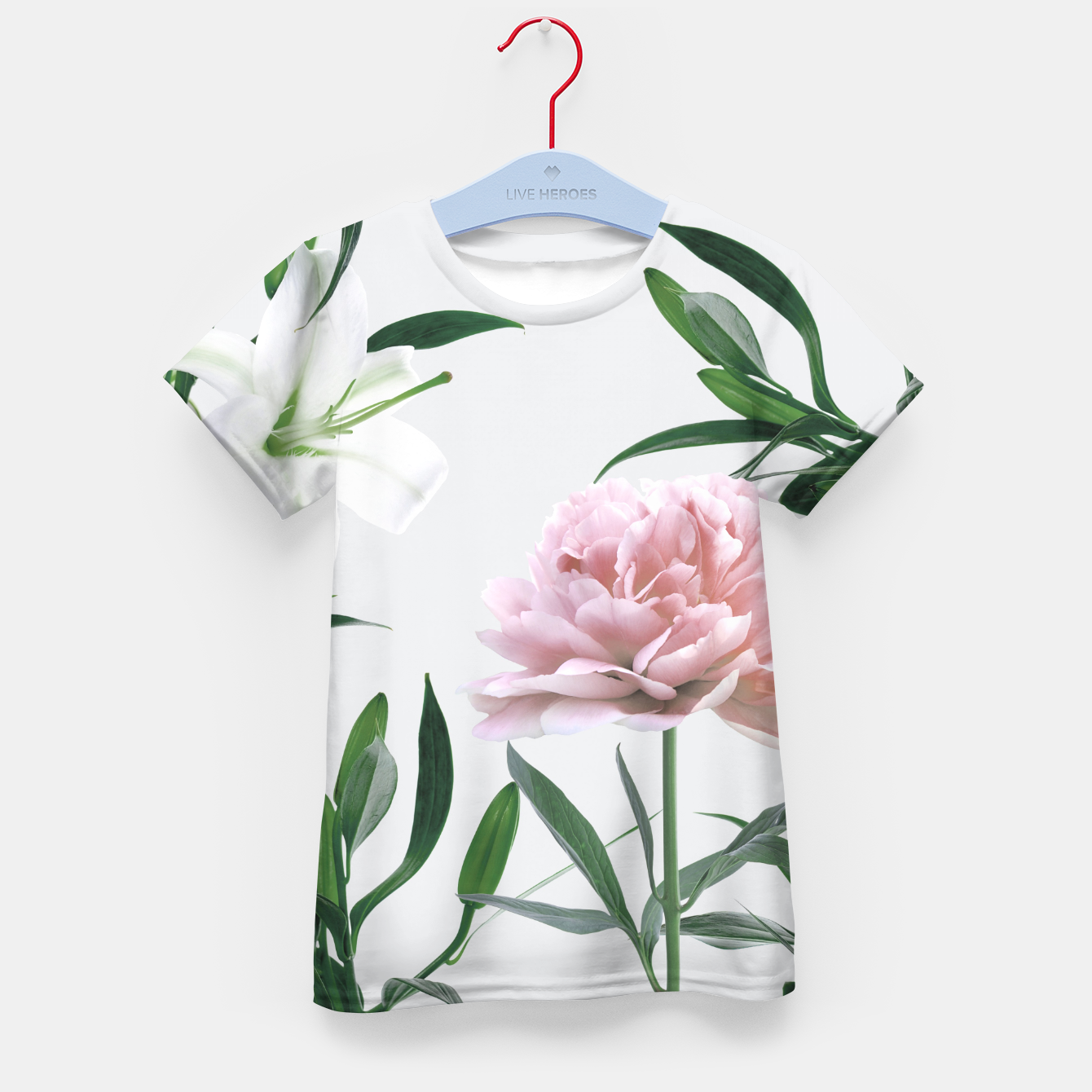 Image of Pink Peony White Lily Kid's T-shirt - Live Heroes