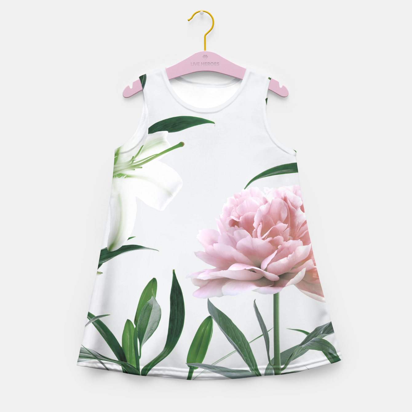 Image of Pink Peony White Lily Girl's Summer Dress - Live Heroes