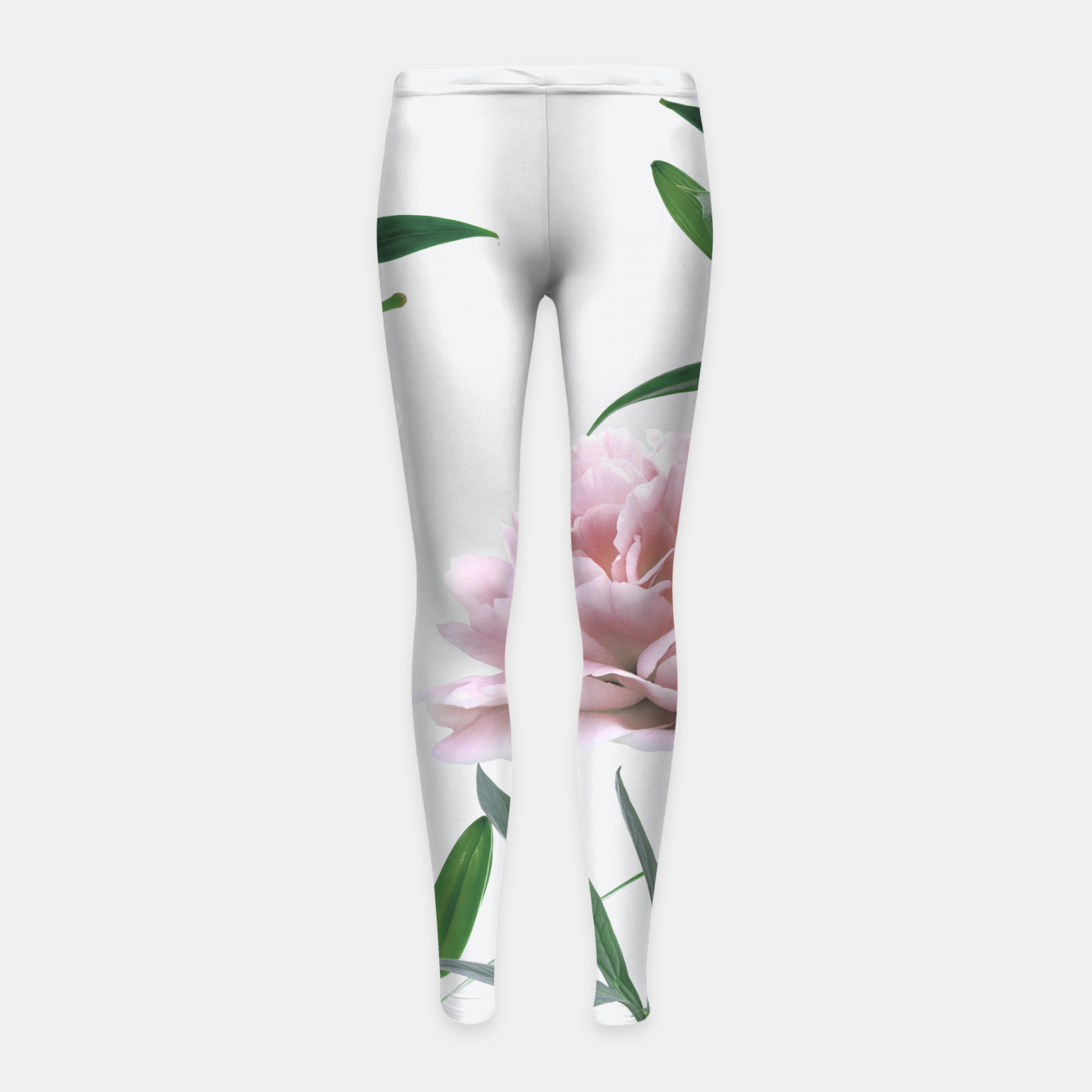 Image of Pink Peony White Lily Girl's Leggings - Live Heroes