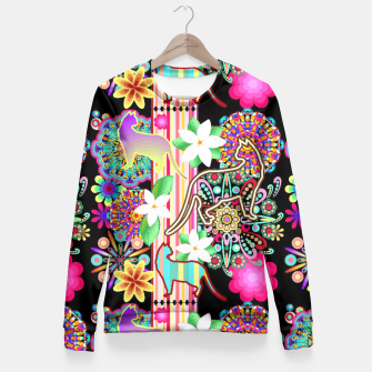 Thumbnail image of Mandalas, Cats & Flowers Fantasy Pattern  Fitted Waist Sweater, Live Heroes