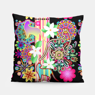 Mandalas, Cats & Flowers Fantasy Pattern  Pillow thumbnail image