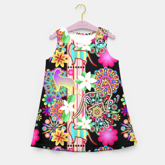 Thumbnail image of Mandalas, Cats & Flowers Fantasy Pattern  Girl's Summer Dress, Live Heroes