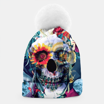 Thumbnail image of Floral Skull Blue Beanie, Live Heroes