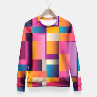 Thumbnail image of Colorful Geometric Square pattern Fitted Waist Sweater, Live Heroes