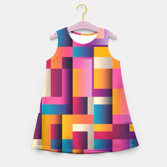 Thumbnail image of Colorful Geometric Square pattern Girl's Summer Dress, Live Heroes