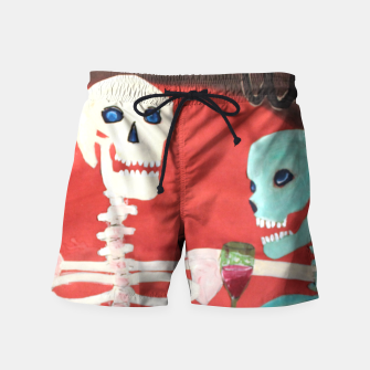 Thumbnail image of three skeletons Swim Shorts, Live Heroes