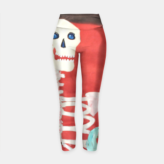 Thumbnail image of three skeletons Yoga Pants, Live Heroes