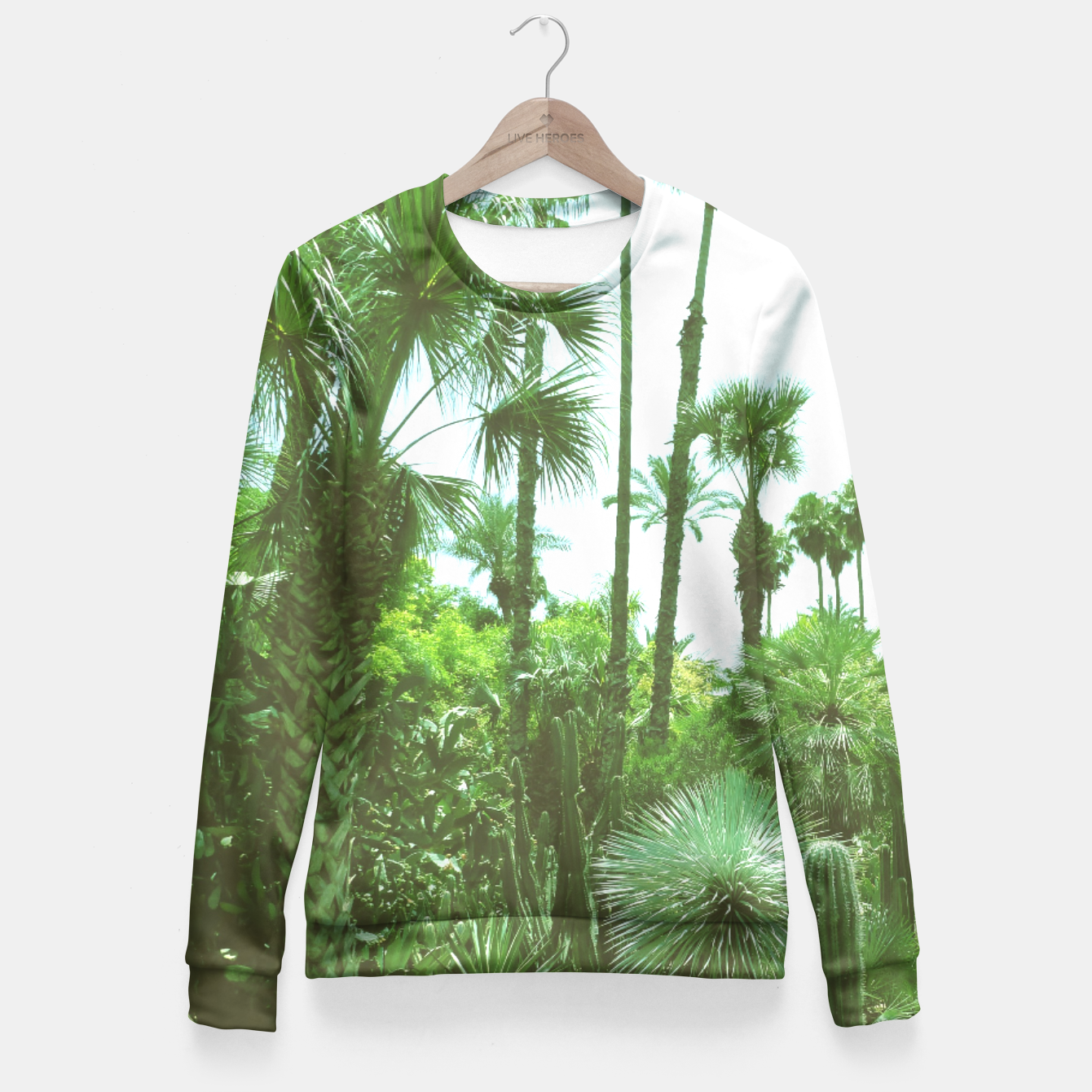 Image of Tropical Cacti Gardens and Greenery Fitted Waist Sweater - Live Heroes