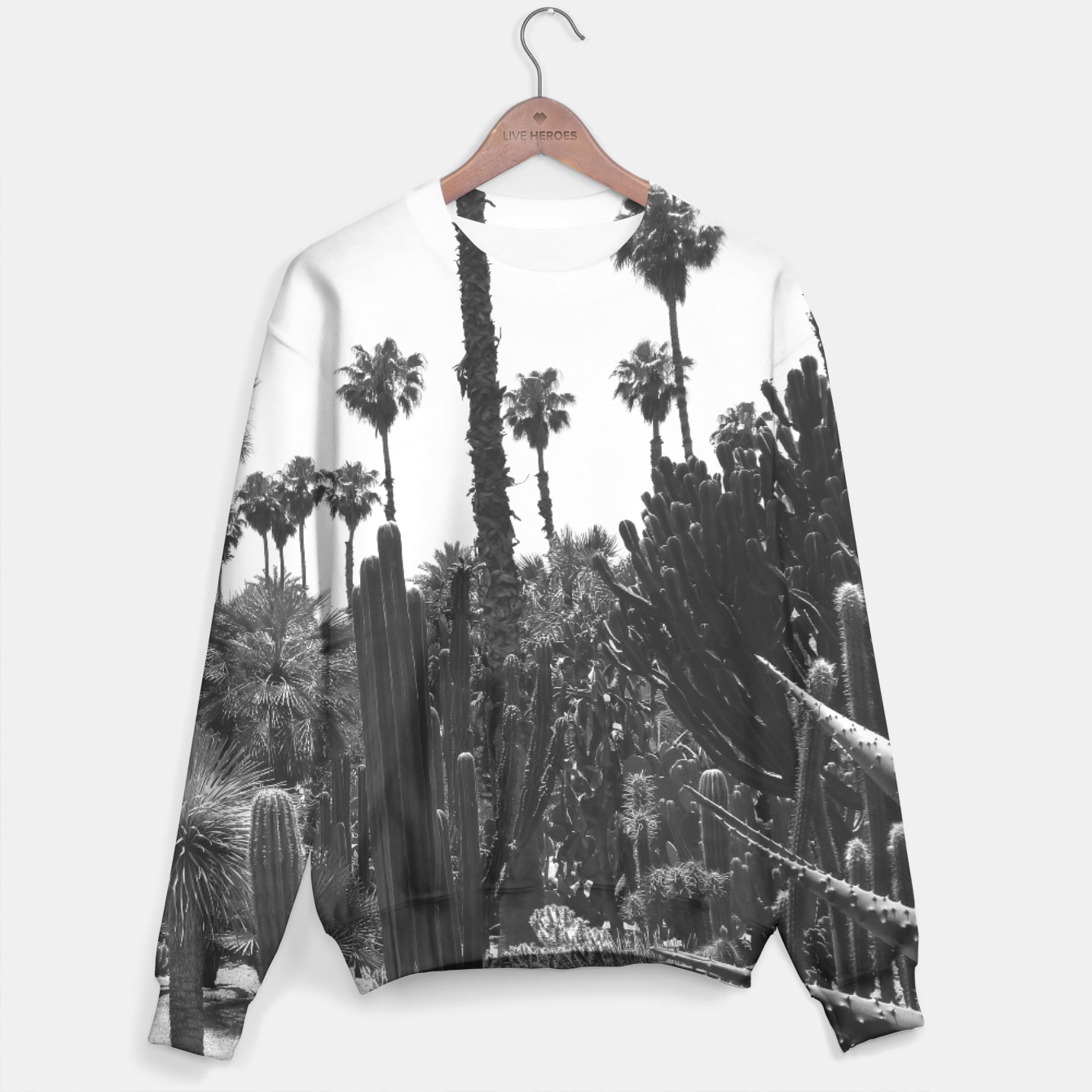 Image of Tropical Cacti Gardens Black and White Sweater - Live Heroes