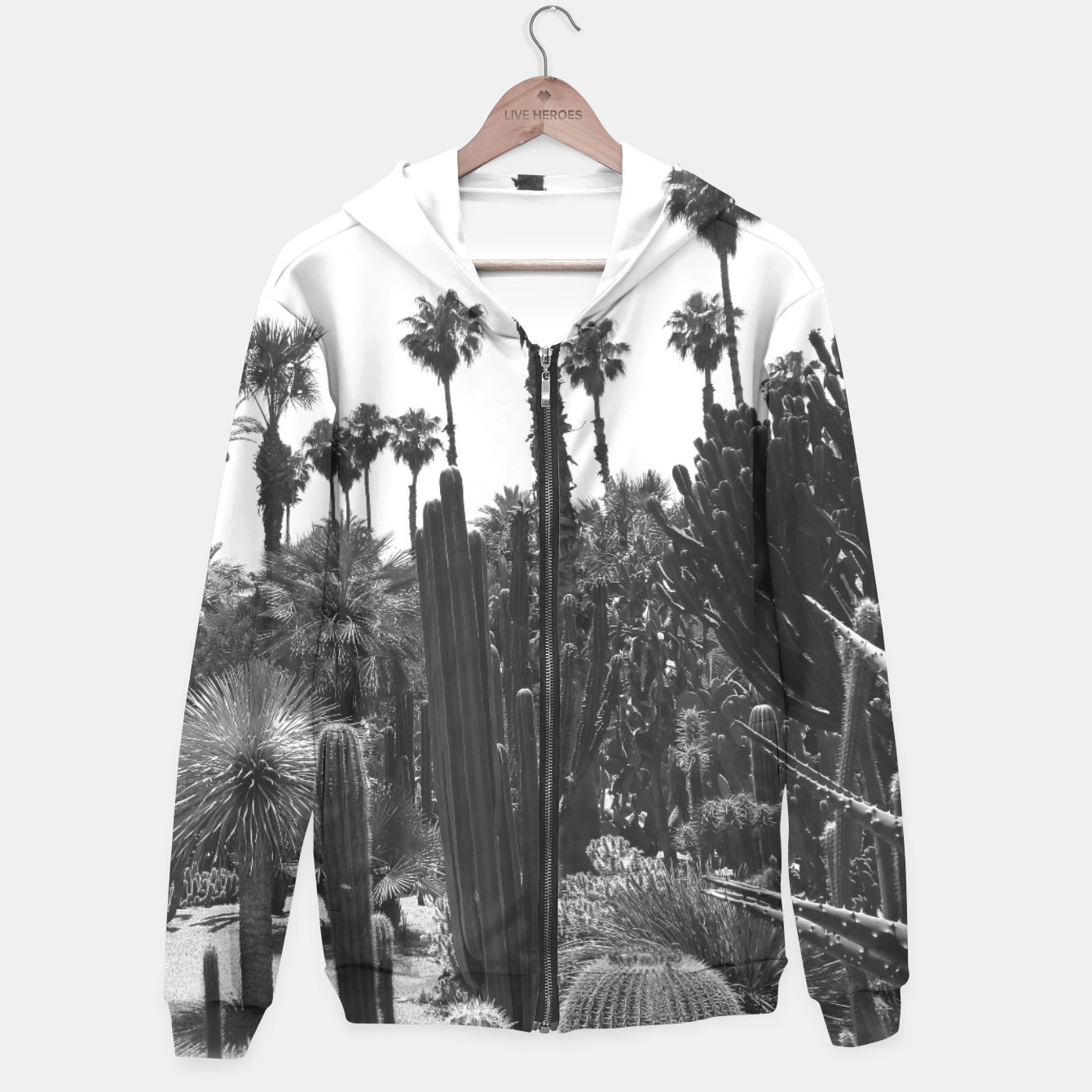 Image of Tropical Cacti Gardens Black and White Hoodie - Live Heroes