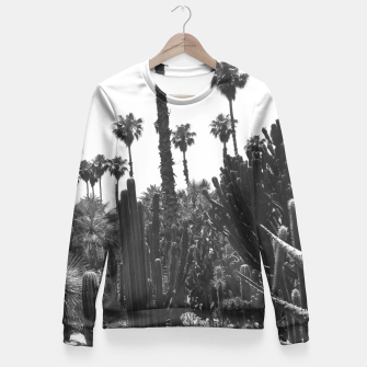 Thumbnail image of Tropical Cacti Gardens Black and White Fitted Waist Sweater, Live Heroes