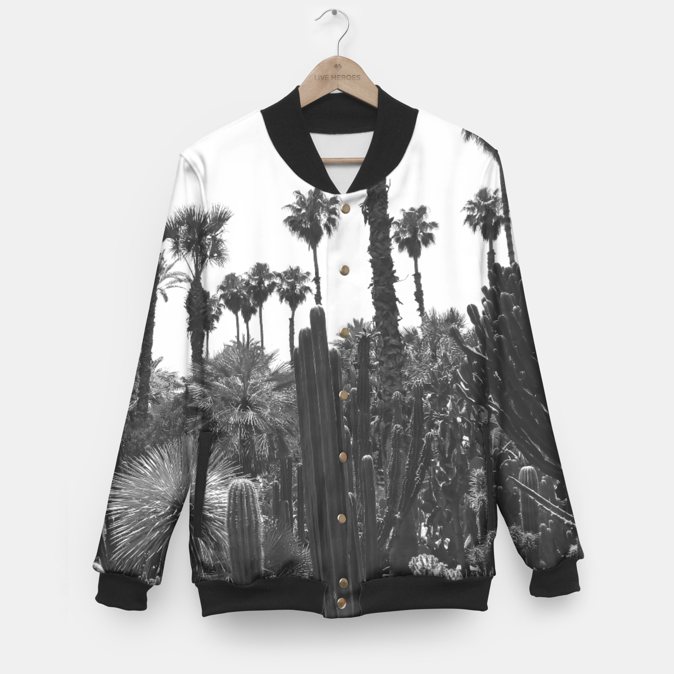 Image of Tropical Cacti Gardens Black and White Baseball Jacket - Live Heroes