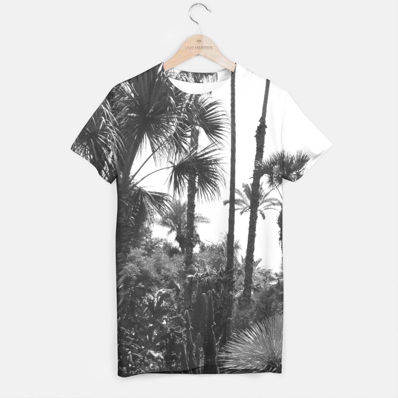 Image of Tropical Cacti Gardens Black and White T-shirt - Live Heroes