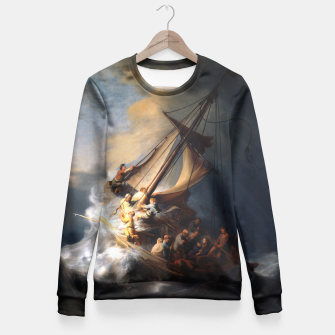 THE STORM ON THE SEA OF GALiLEE BY REMBRANDT Fitted Waist Sweater thumbnail image