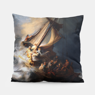 THE STORM ON THE SEA OF GALiLEE BY REMBRANDT Pillow thumbnail image