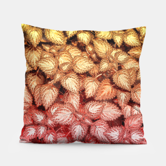 Lovely Leaves, in Red and Gold Pillow thumbnail image
