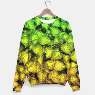 Thumbnail image of Lovely Leaves, in Green and Gold Sweater, Live Heroes