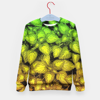 Lovely Leaves, in Green and Gold Kid's Sweater thumbnail image