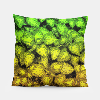 Lovely Leaves, in Green and Gold Pillow thumbnail image