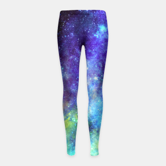 Blue Nebula Girl's Leggings obraz miniatury