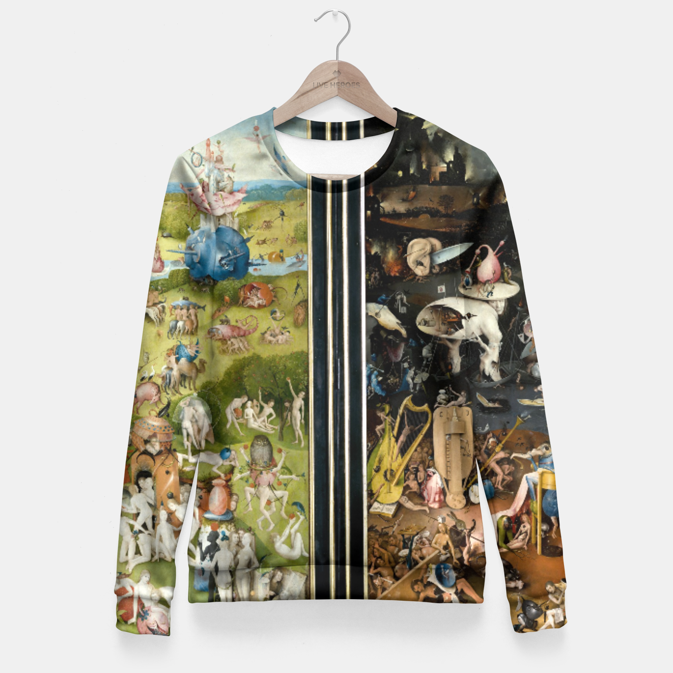 Image of THE GARDEN OF EARTHLY DELiGHTS BY HiERONYMUS BOSCH Fitted Waist Sweater - Live Heroes
