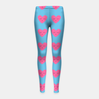 Thumbnail image of Valentines Heart Blue Girl's Leggings, Live Heroes