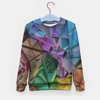 Miniatur Colorful Abstract Geometric 3d Low Poly Blocks Kid's Sweater, Live Heroes