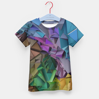 Miniatur Colorful Abstract Geometric 3d Low Poly Blocks Kid's T-shirt, Live Heroes