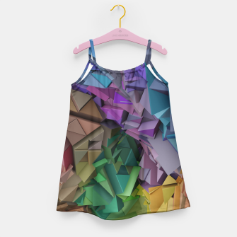Miniatur Colorful Abstract Geometric 3d Low Poly Blocks Girl's Dress, Live Heroes