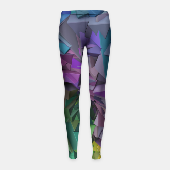 Miniatur Colorful Abstract Geometric 3d Low Poly Blocks Girl's Leggings, Live Heroes