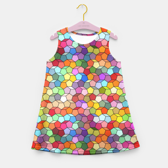 Miniatur Colorful Geometric Polygon Pattern Girl's Summer Dress, Live Heroes