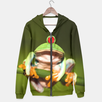 Miniatur Funny Conceptual Cyclopic Frog Hoodie, Live Heroes