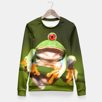 Miniatur Funny Conceptual Cyclopic Frog Fitted Waist Sweater, Live Heroes