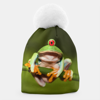 Miniatur Funny Conceptual Cyclopic Frog Beanie, Live Heroes