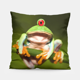 Miniatur Funny Conceptual Cyclopic Frog Pillow, Live Heroes
