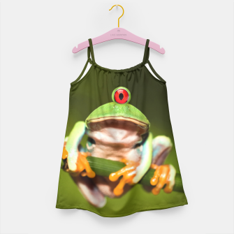Miniatur Funny Conceptual Cyclopic Frog Girl's Dress, Live Heroes