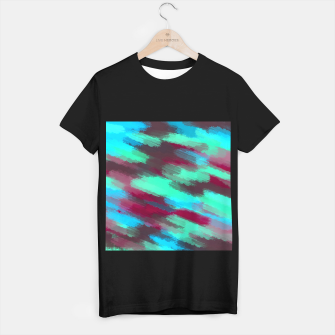 Miniaturka green blue red and brown painting texture abstract background T-shirt regular, Live Heroes
