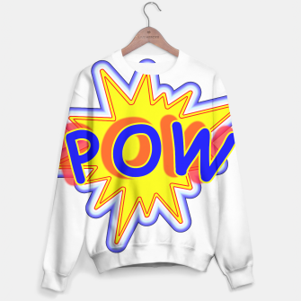 Thumbnail image of Pow Fun Bright Comic Book Popping Graphic Sweater, Live Heroes